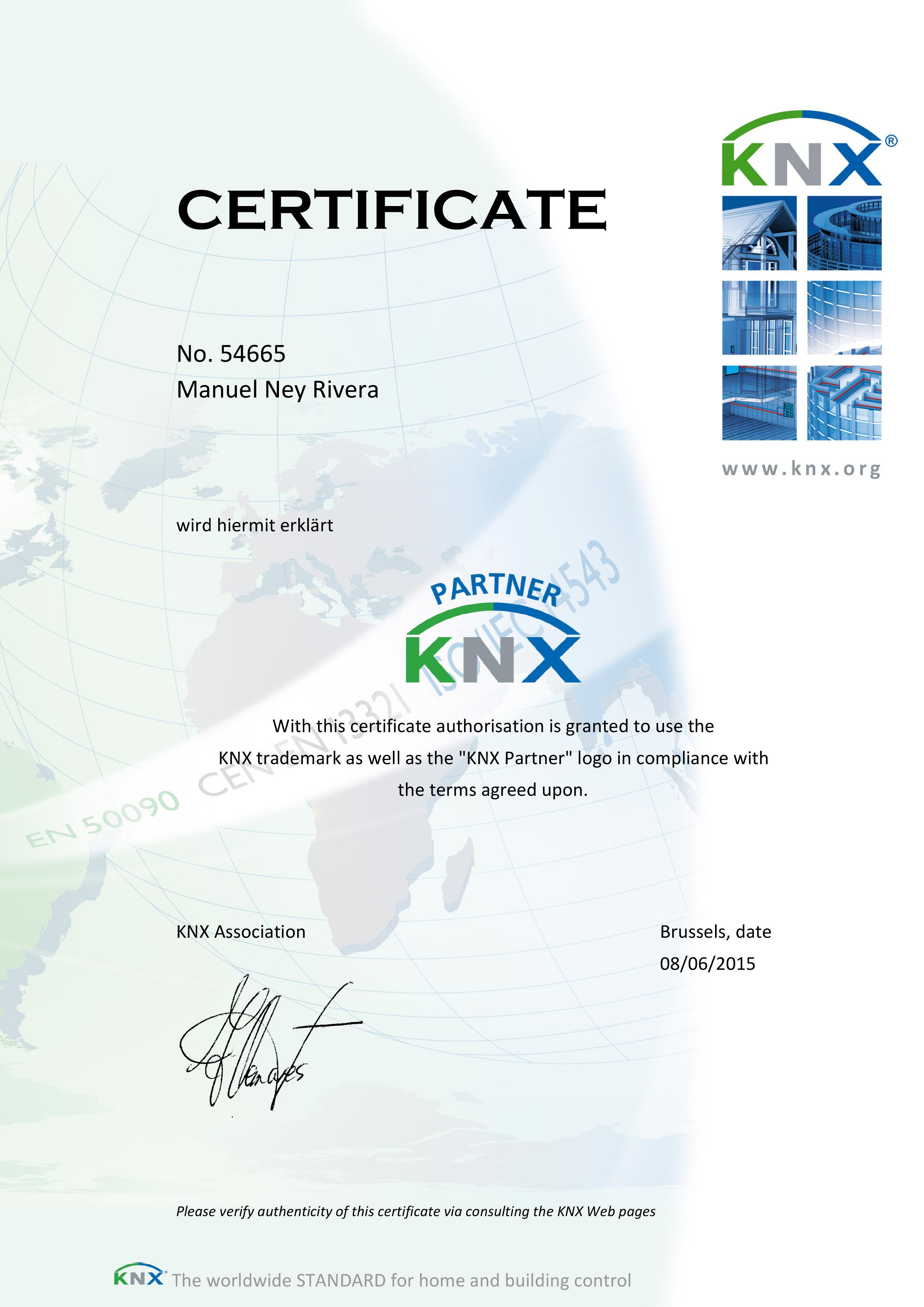KNX Partner Zertifikat - Ney Rivera