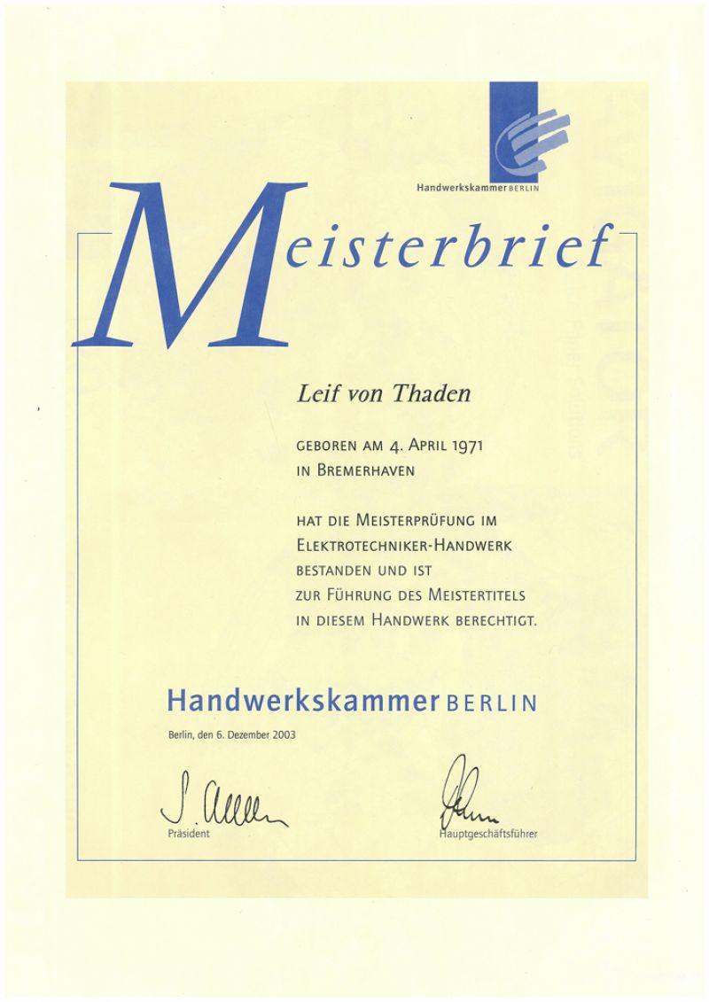 Meister im Elektrotechniker-Handwerk