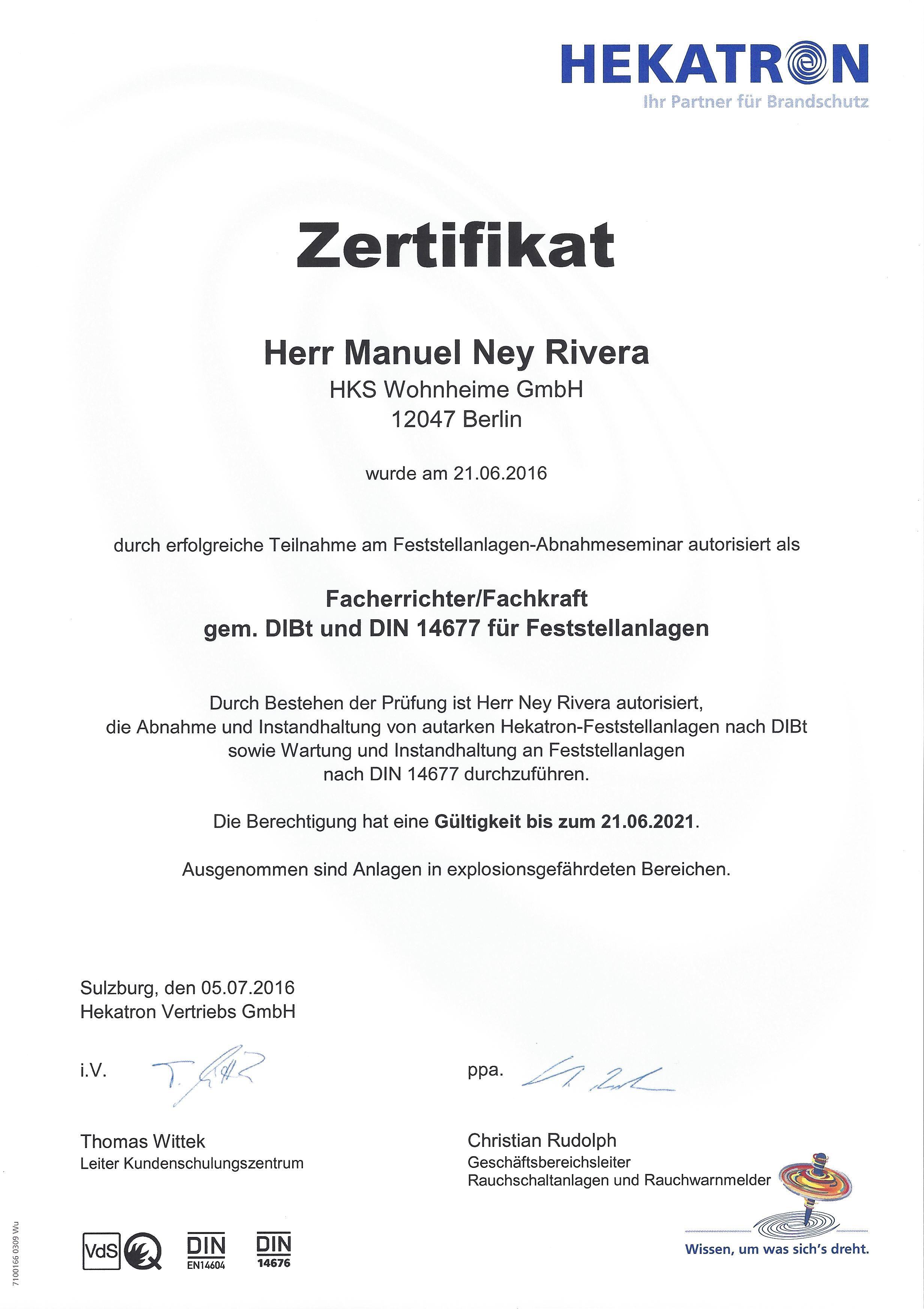 HEKATRON - Fachkraft für Feststellanlagen - Ney Rivera