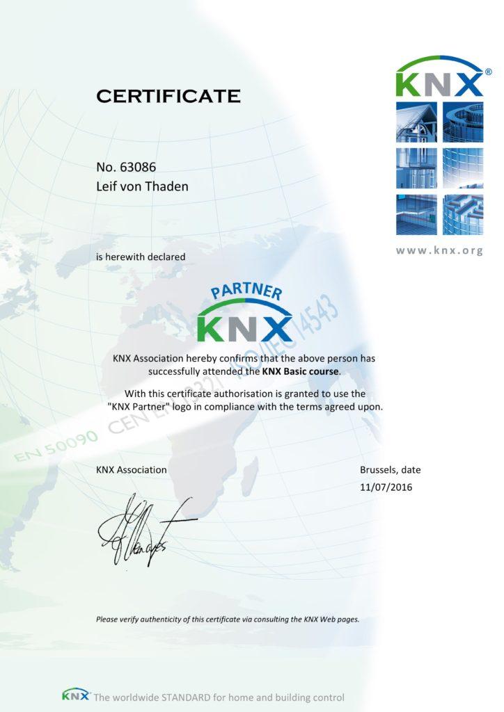 KNX Partner Zertifikat - von Thaden